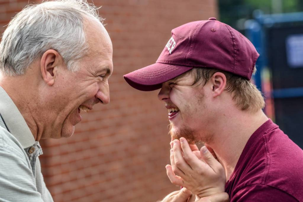 Father and son rejoicing