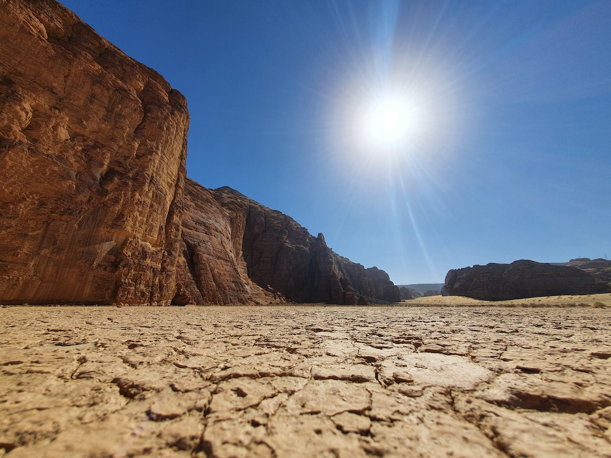 dry, parched ground