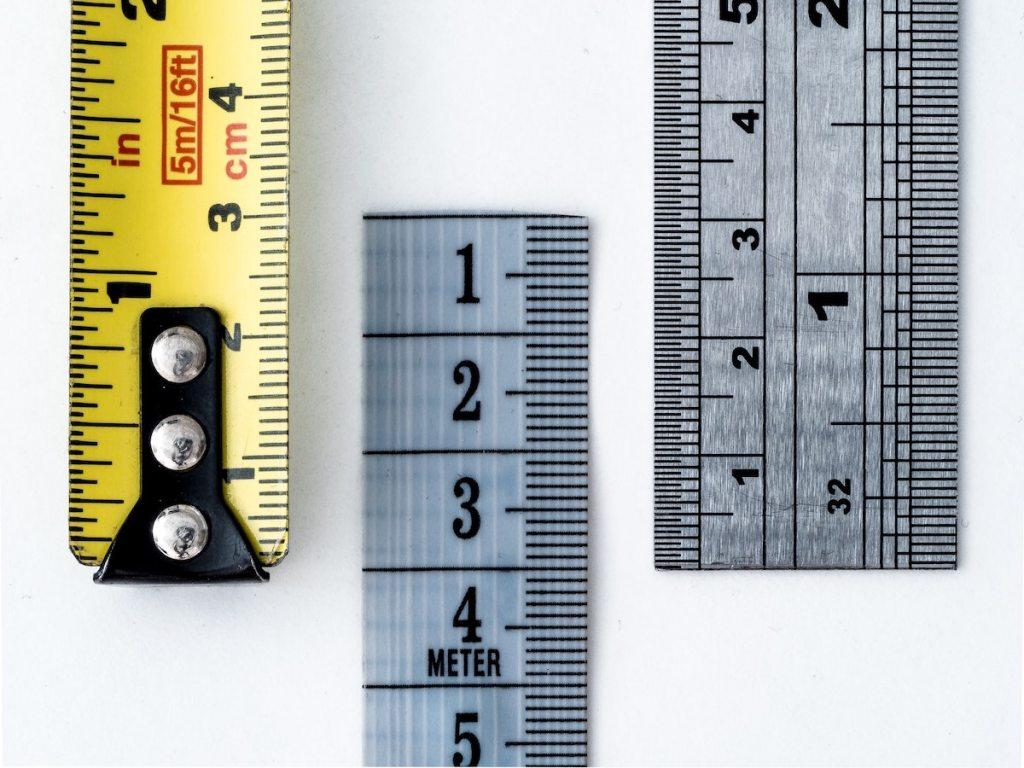 Macro of various tape measures and rulers