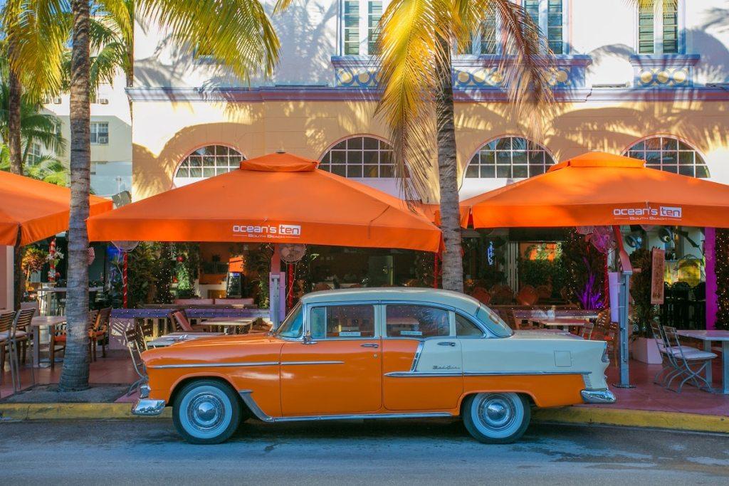 Rare Chevrolet Bel Air, Ocean Drive in Miami Beach. Florida. USA